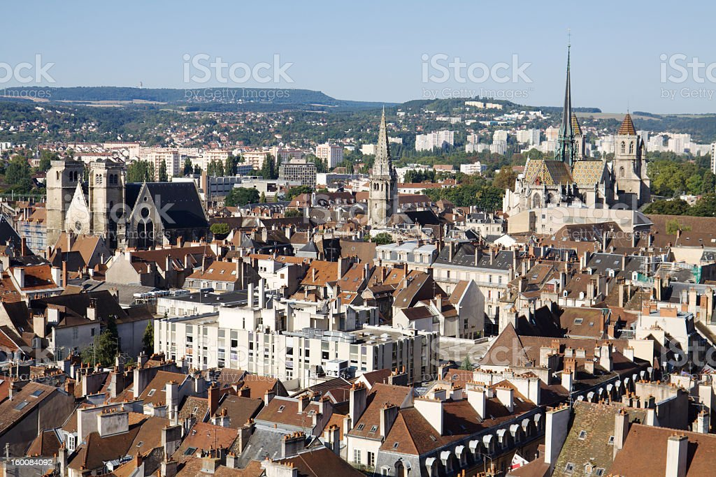 Aerial view of residential area of Dijon in France stock photo