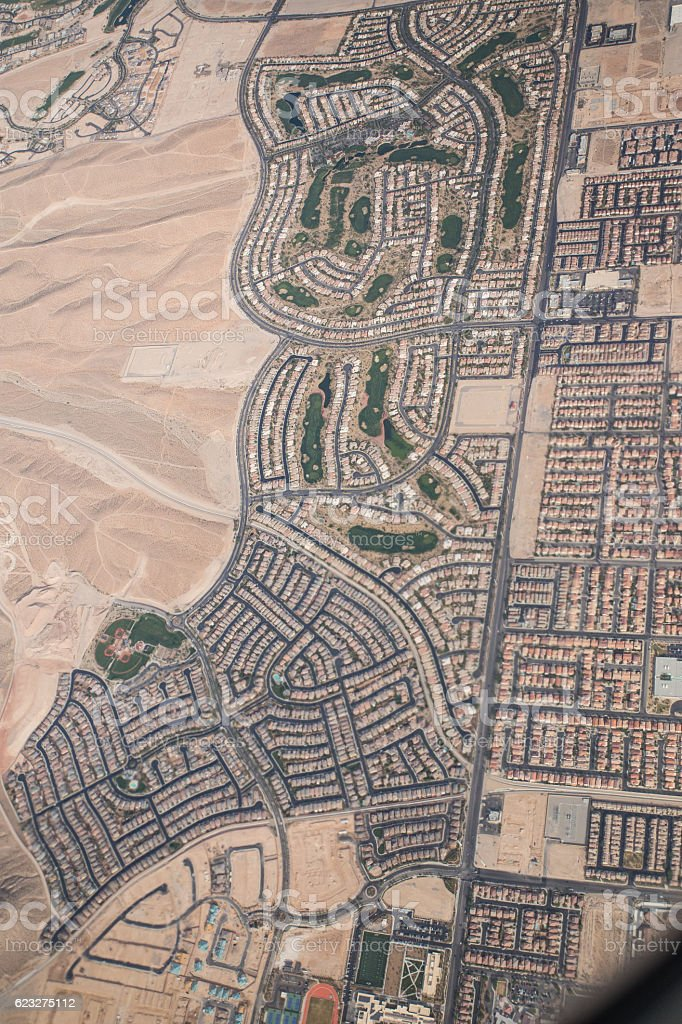 Aerial view of residential area stock photo