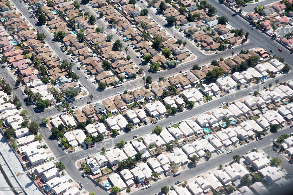 Aerial view of residential housing in neighborhoods around Las Vegas stock photo