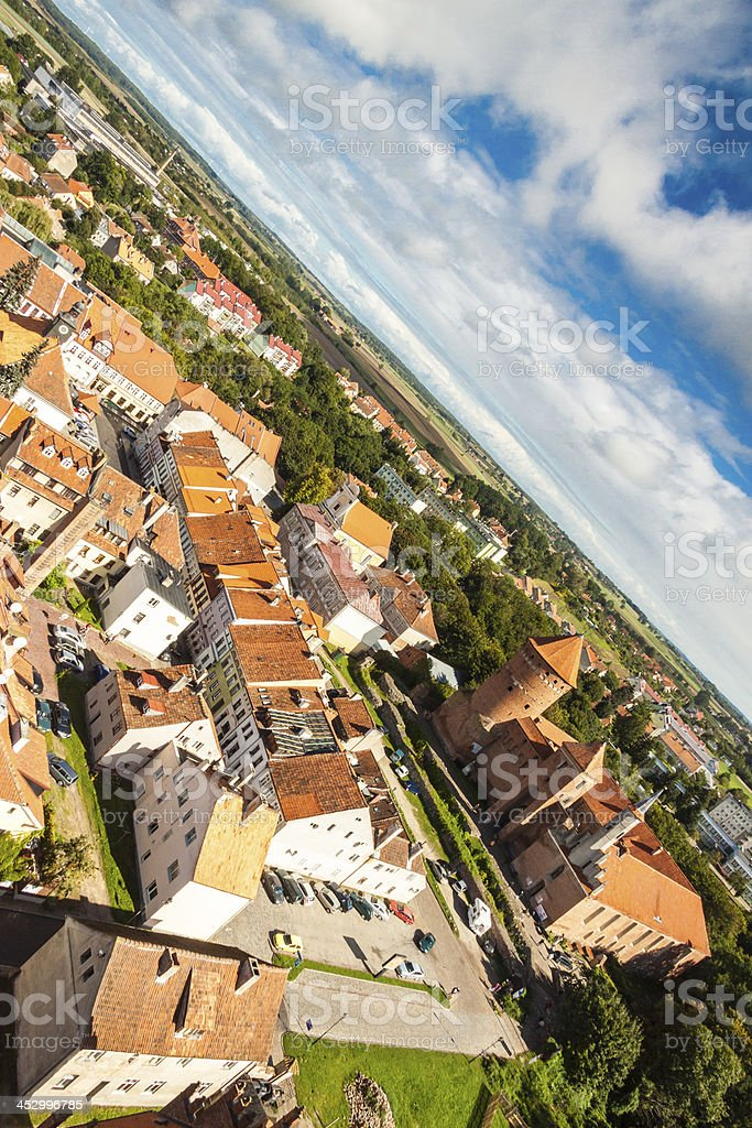 Aerial view of Reszel old town - Poland. stock photo