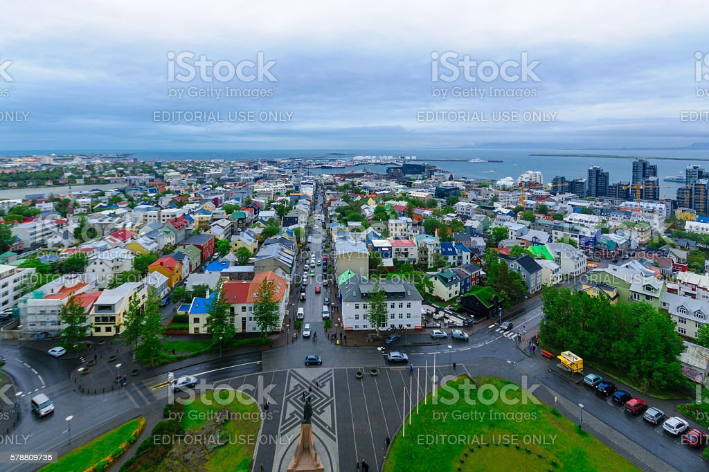 Aerial view of Reykjavik center stock photo