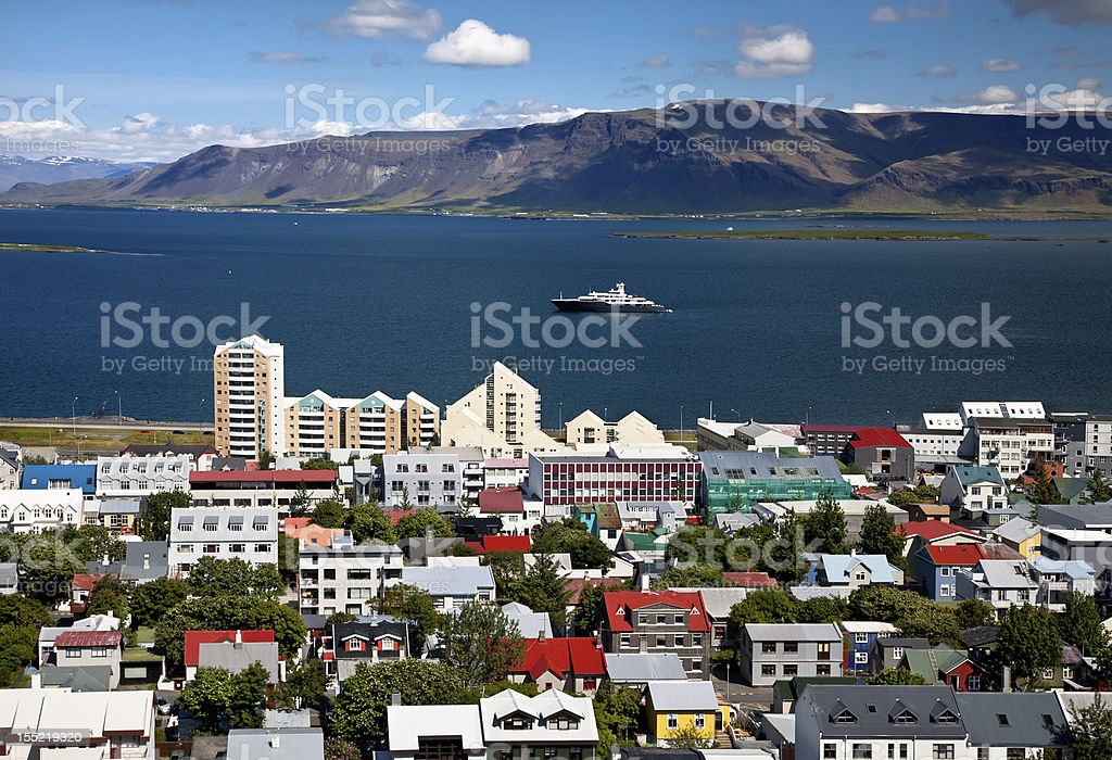 Aerial view of Reykjavik with skyline stock photo