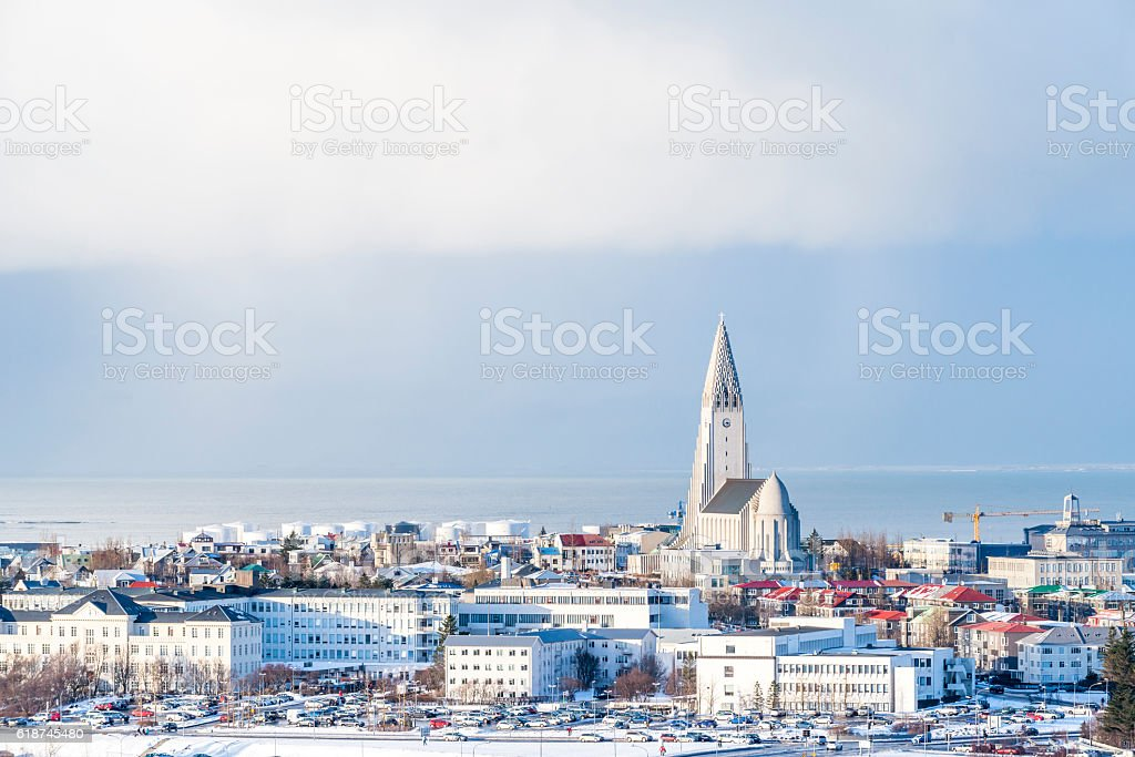Aerial view of Reykjavik with the Hallgrimskirkja church stock photo