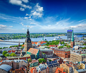 Aerial view of Riga center from St. Peter's Church, Latvia