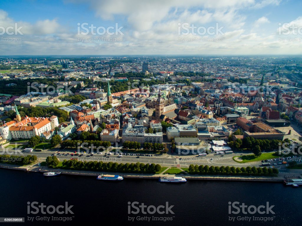 aerial view of Riga old town, city market and river stock photo