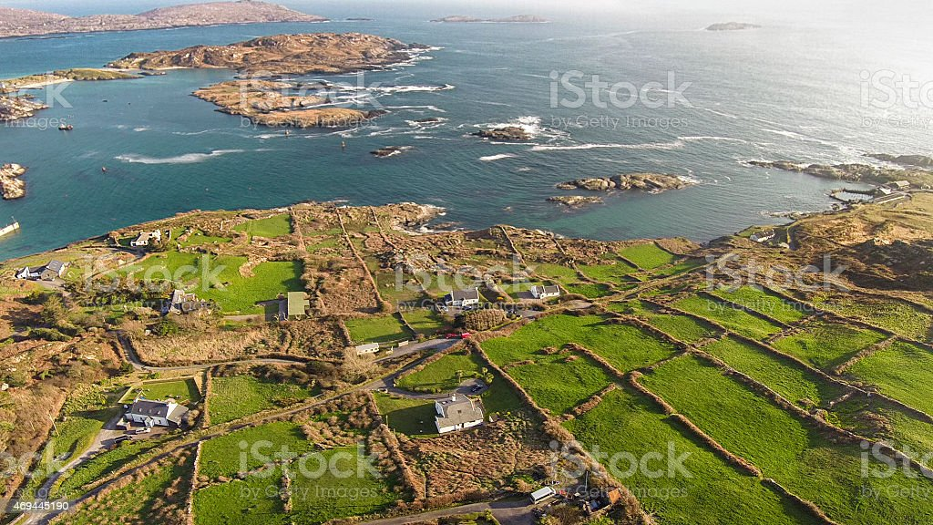 Aerial view of ring of Kerry in Ireland stock photo