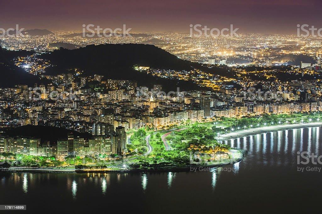 Aerial view of Rio De Janeiro by night royalty-free stock photo