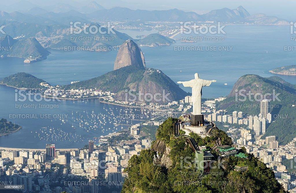 Aerial view of Rio de Janeiro landmarks stock photo