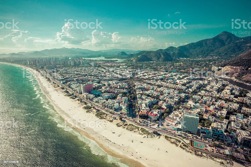 Aerial view of Rio De Janeiro's Barra Da Tijuca beach stock photo