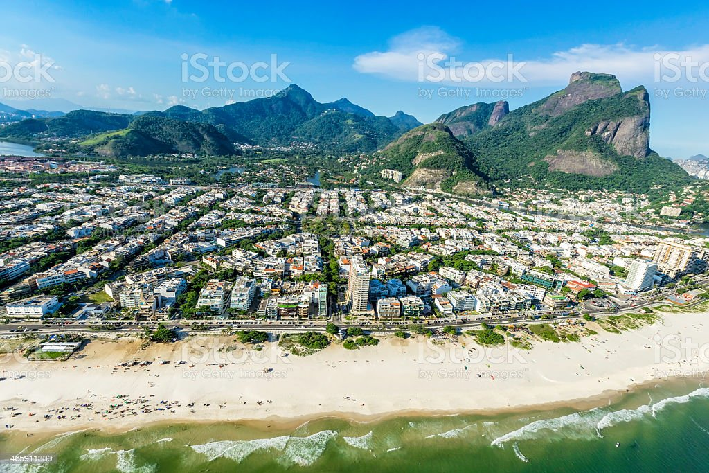 Aerial view of Rio De Janeiro's Barra Da Tijuca beachfront stock photo