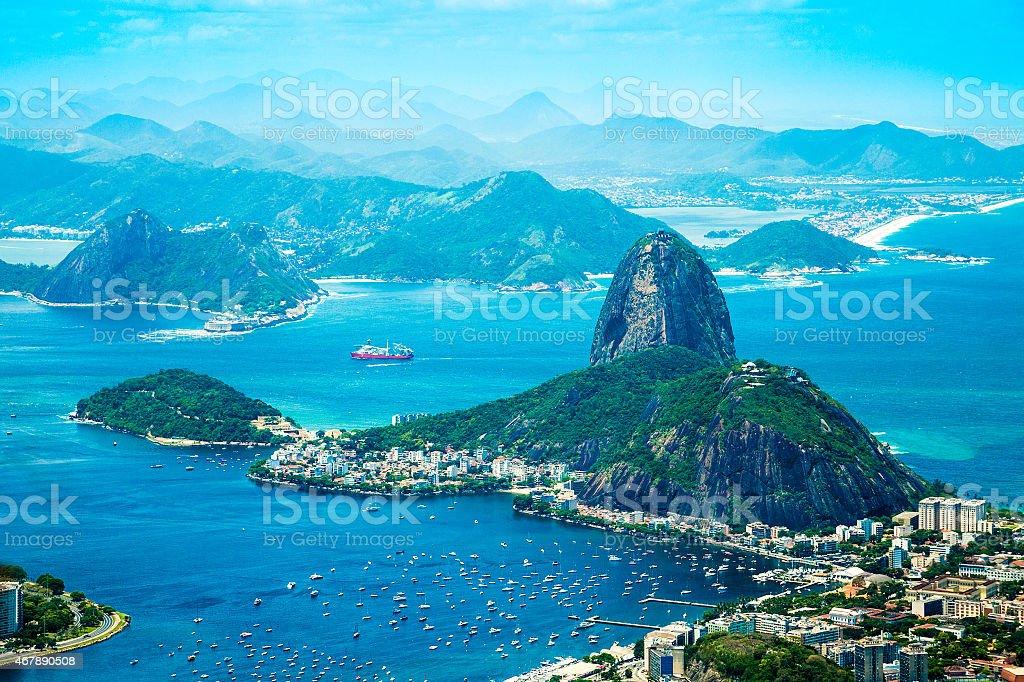Aerial view of Rio de Janeiro's buildings and mountains stock photo