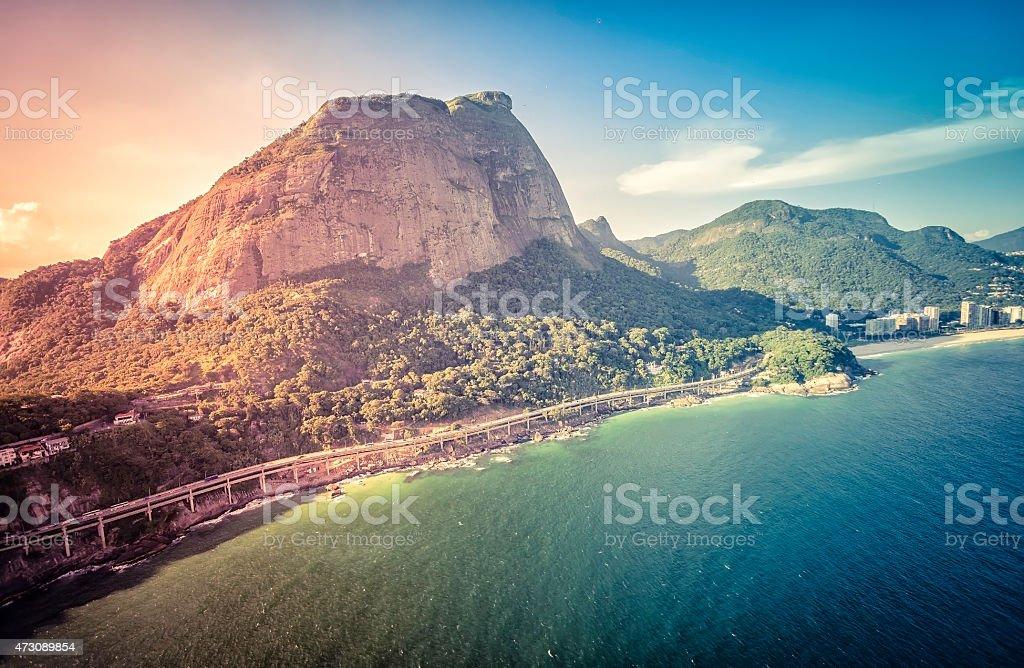 Aerial view of Rio de Janeiro's Pedra da Gavea Mountain stock photo