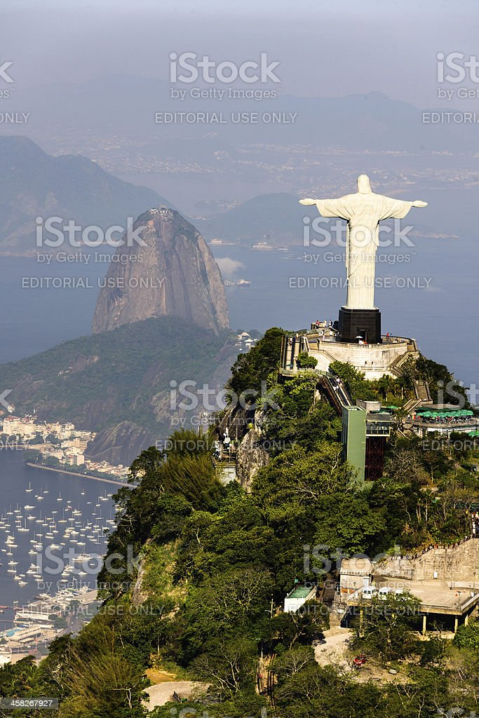 aerial view of rio de janerio from helicopter stock photo