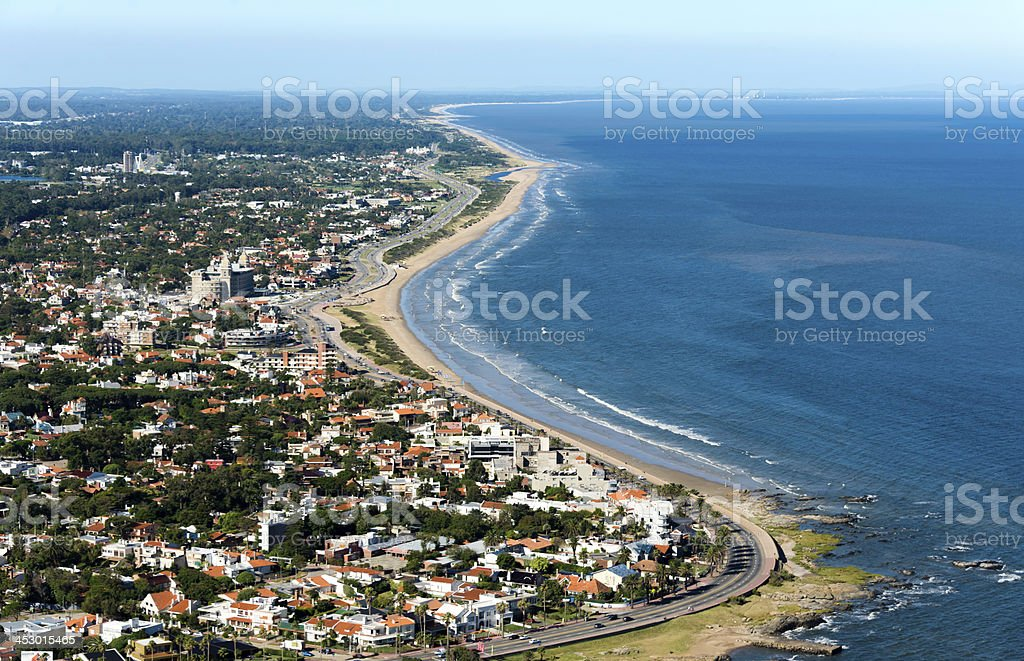 Aerial view of Rio de la Plata in Montevideo stock photo