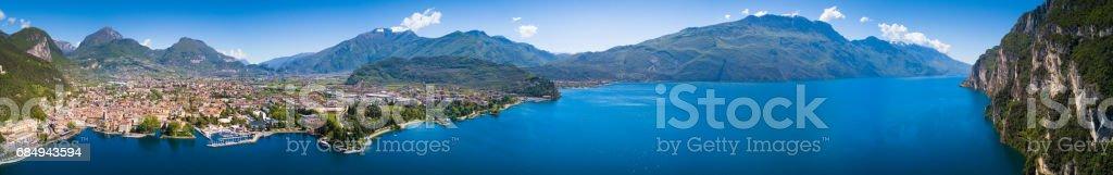 Aerial View of Riva del Garda, Lake of Garda, Italy stock photo