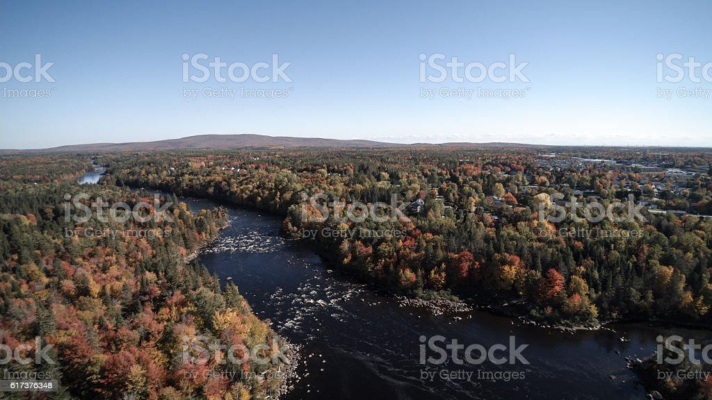 Aerial View of River in Autumn Forest Nature, Quebec, Canada stock photo