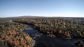 Aerial View of River in Autumn Forest Nature, Quebec, Canada