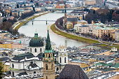aerial view of river Salzach in Salzburg, Austria