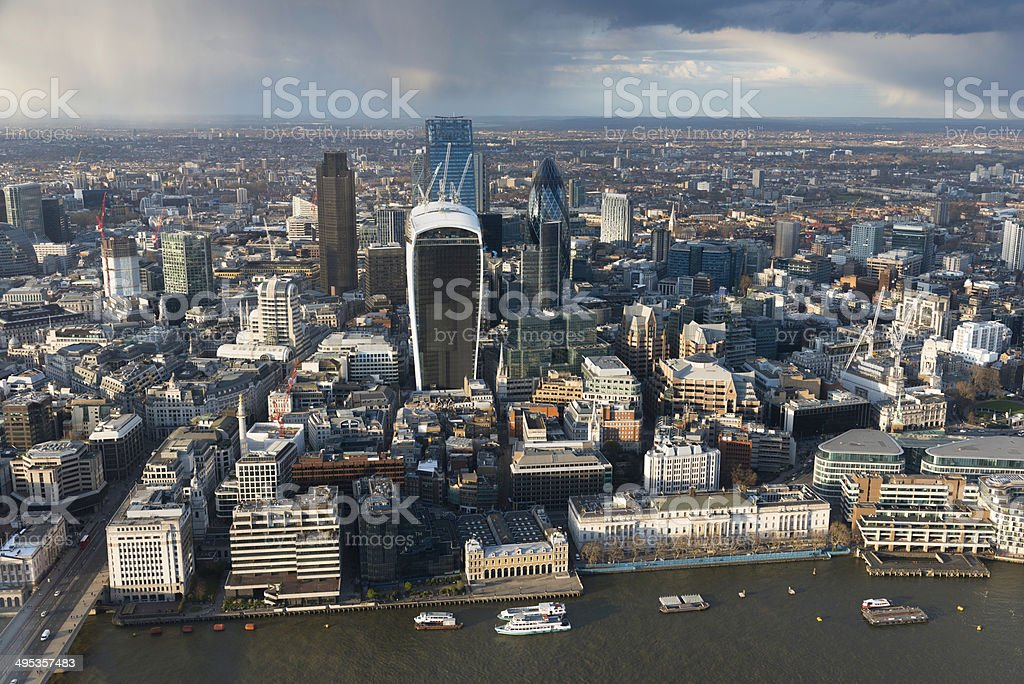 Aerial view of River Thames and The City in London stock photo