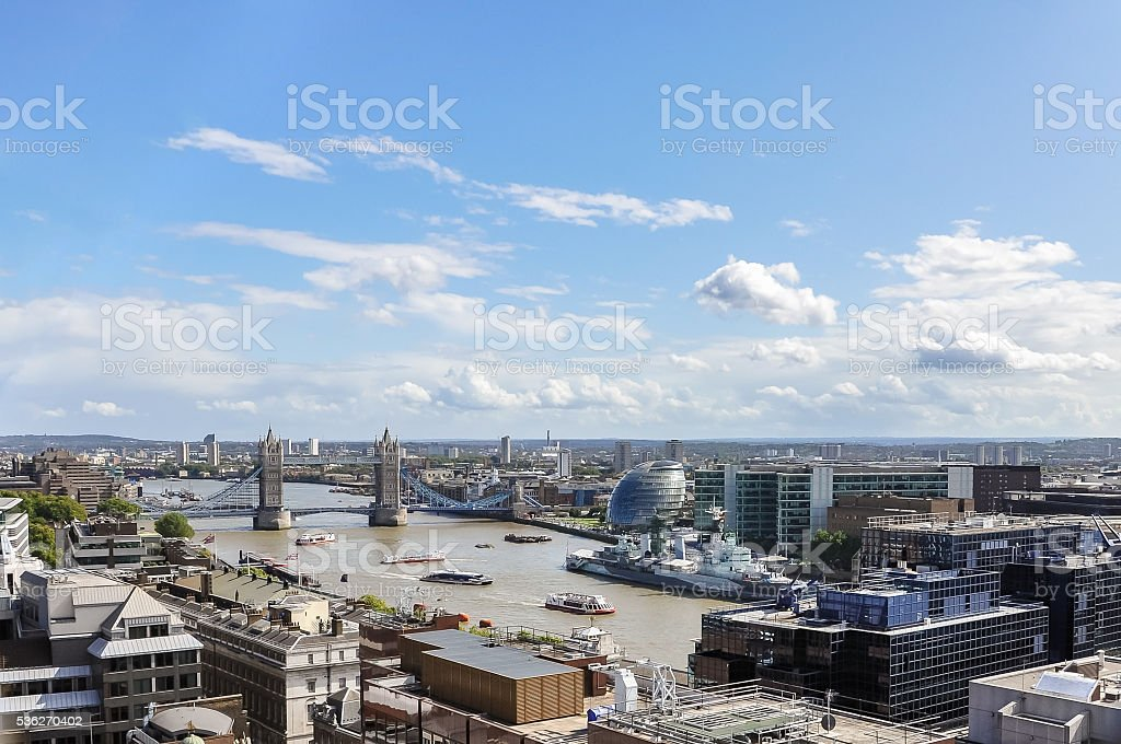 Aerial view of River Thames in London stock photo