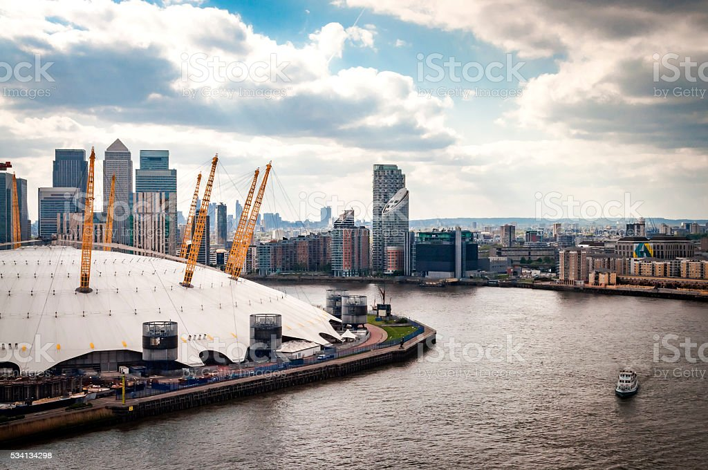 Aerial view of River Thames, North Greenwich and the Docklands stock photo