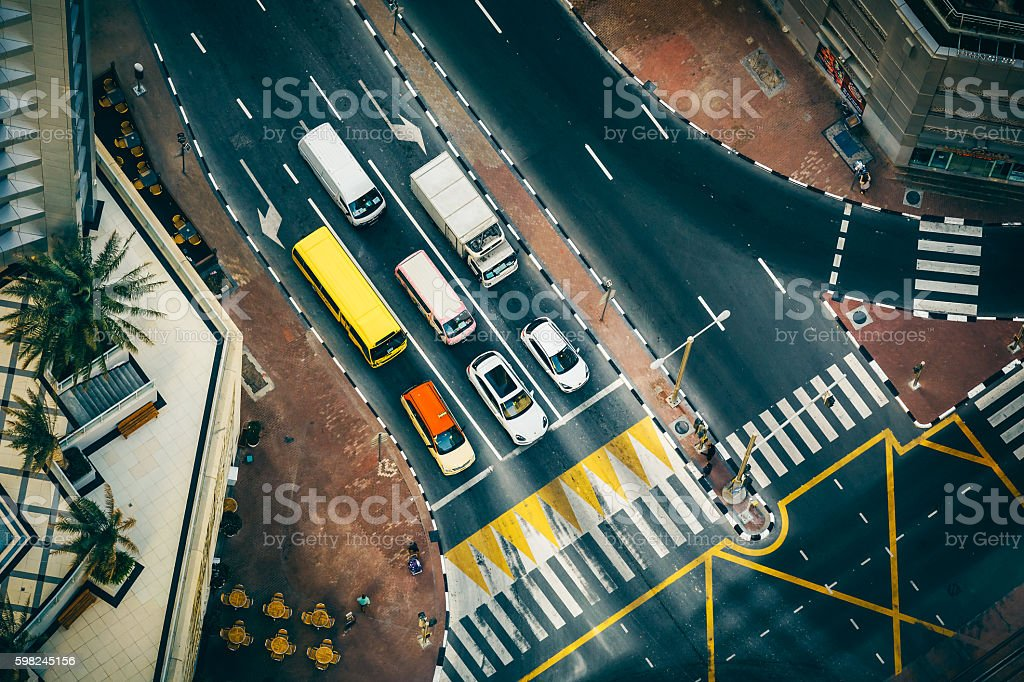 Aerial view of road intersection in Dubai Marina with traffic. stock photo