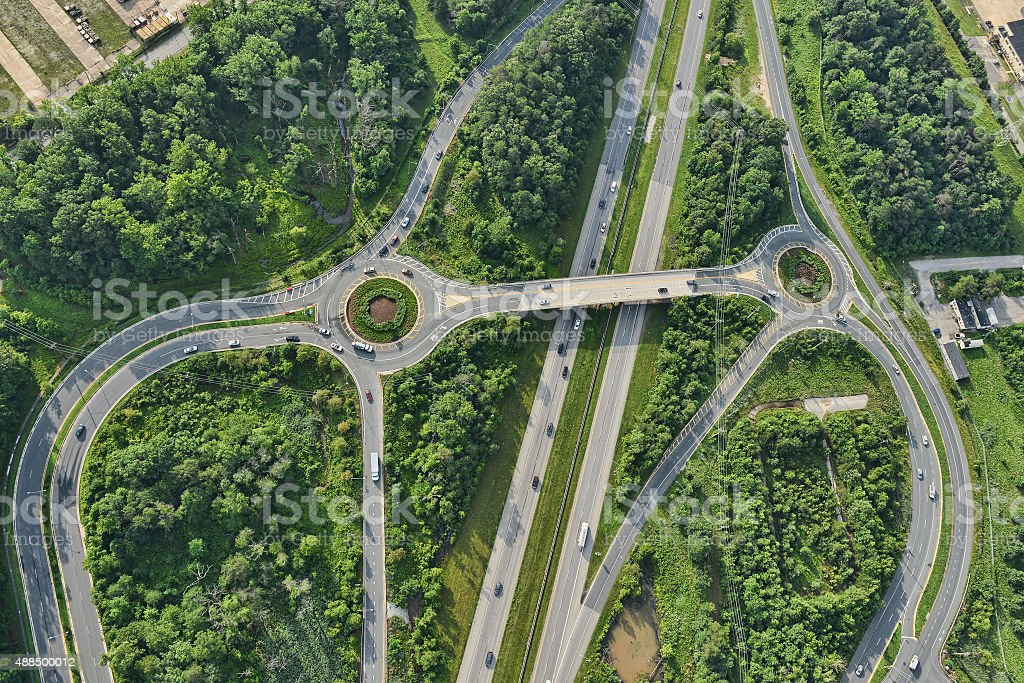aerial view of roadway in suburban maryland stock photo