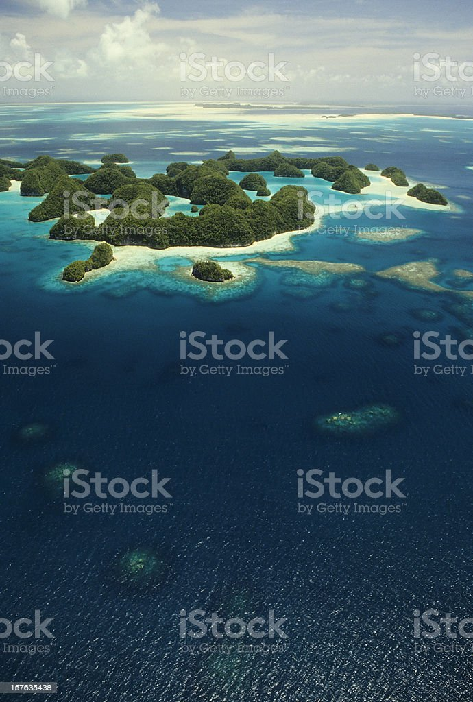 Aerial view of Rock Islands, Palau in Micronesia stock photo