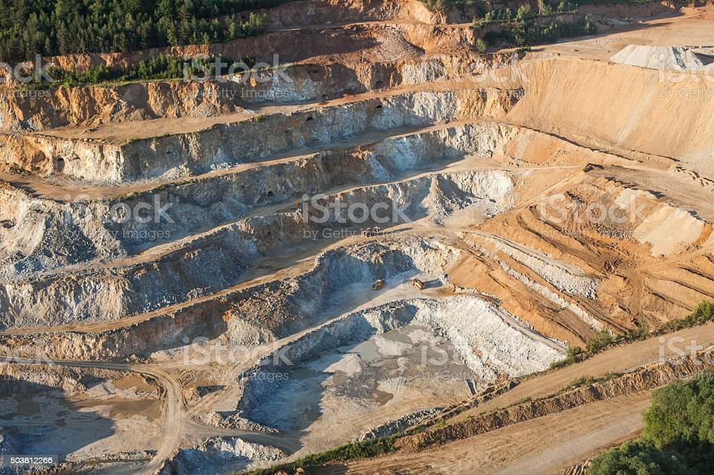 aerial view of rock quarry stock photo