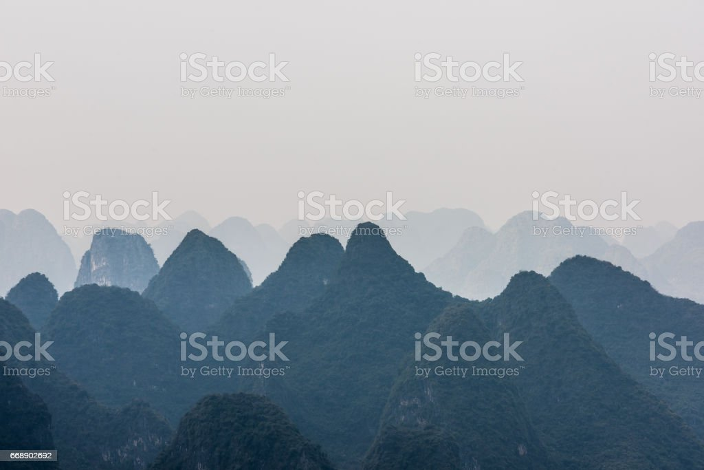 aerial view of roll of hills stock photo