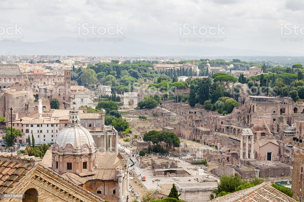 Aerial view of Rome from Vittoriano palace, Lazio region, Italy. stock photo