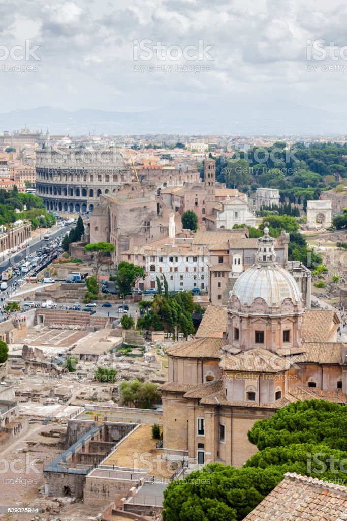 Aerial view of Rome from Vittoriano palace, Lazio region, Italy. stock photo