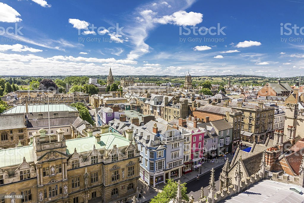 Aerial view of roofs in oxford, england stock photo