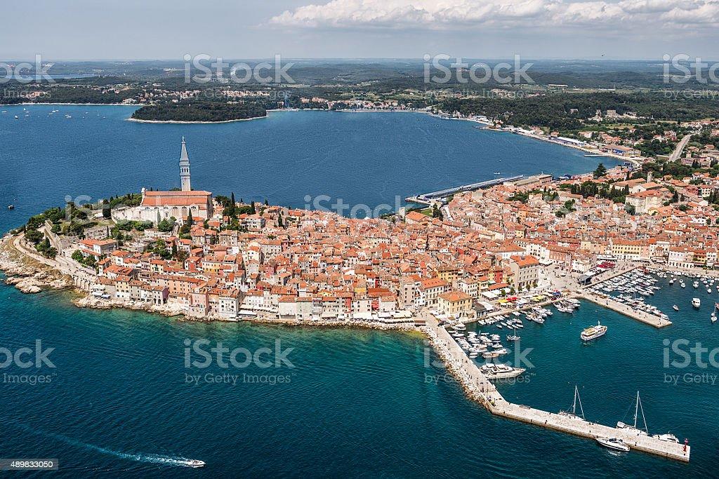 Aerial view of Rovinj harbor stock photo