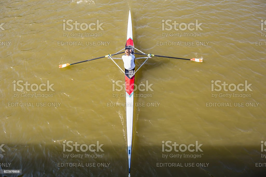 Aerial view of rowers stock photo