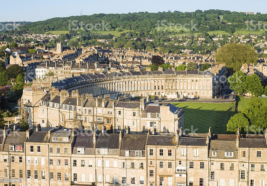 Aerial view of Royal Crescent in Bath, England stock photo