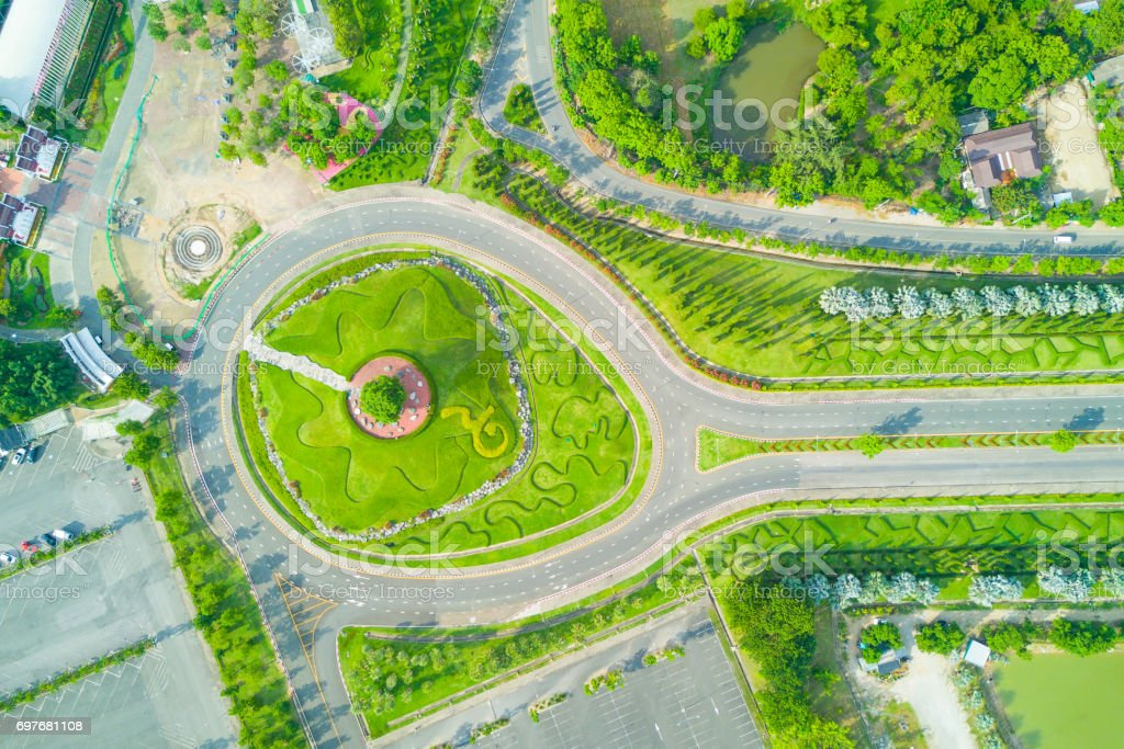 Aerial view of Royal Park Rajapruek roundabout with beautiful green garden , Chiang Mai , Thailand. stock photo