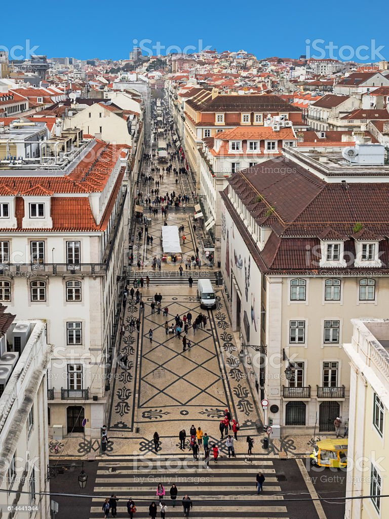 Aerial view of Rua Augusta in Lisbon, Portugal stock photo