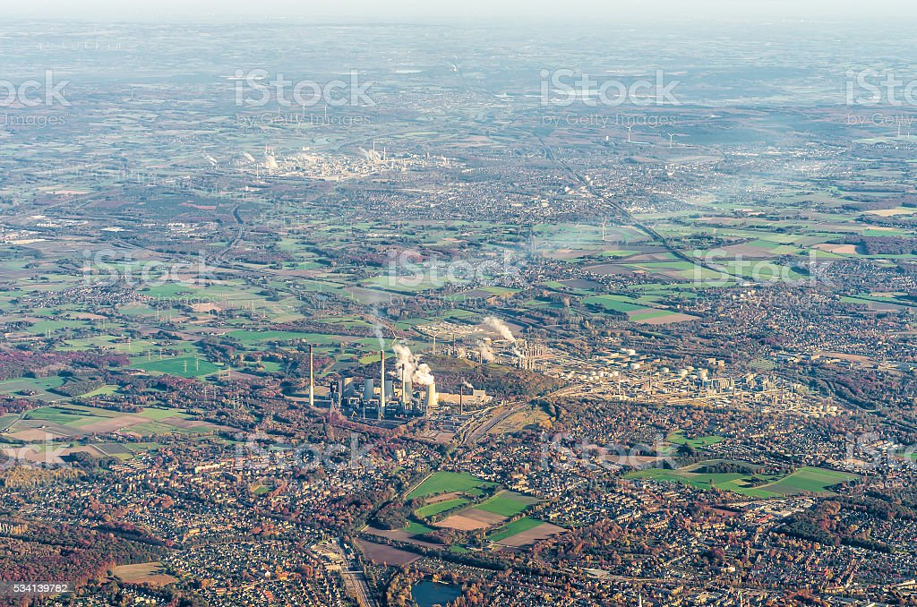 Aerial view of Ruhr district, power plant, oil refinery, Gelsenkirchen stock photo