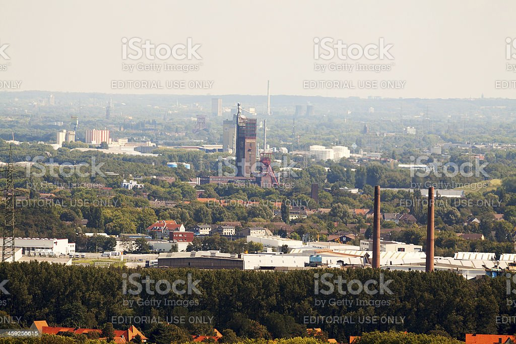 Aerial view of Ruhrgebiet with coal mine Nordstern stock photo
