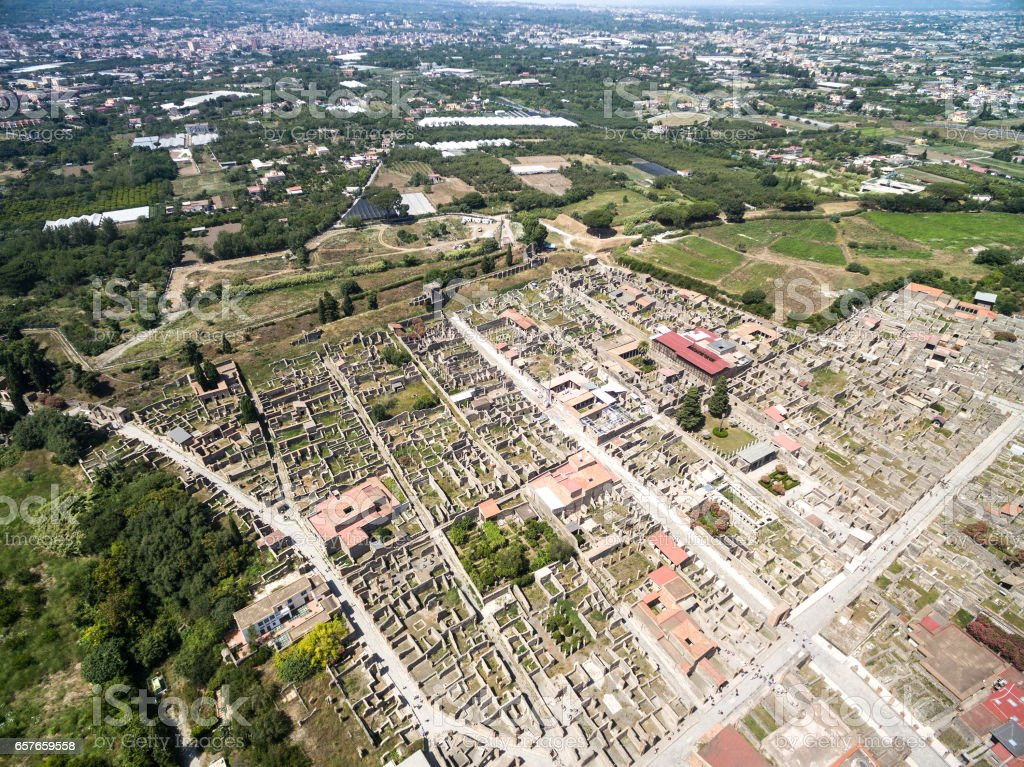 Aerial View of Ruins of Pompeii, Italy stock photo