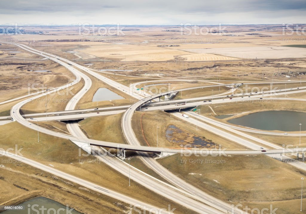 Aerial view of rural freeway interchange stock photo