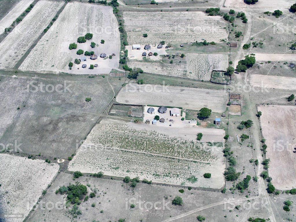 Aerial view of rural huts and agriculture in Zimbabwe stock photo