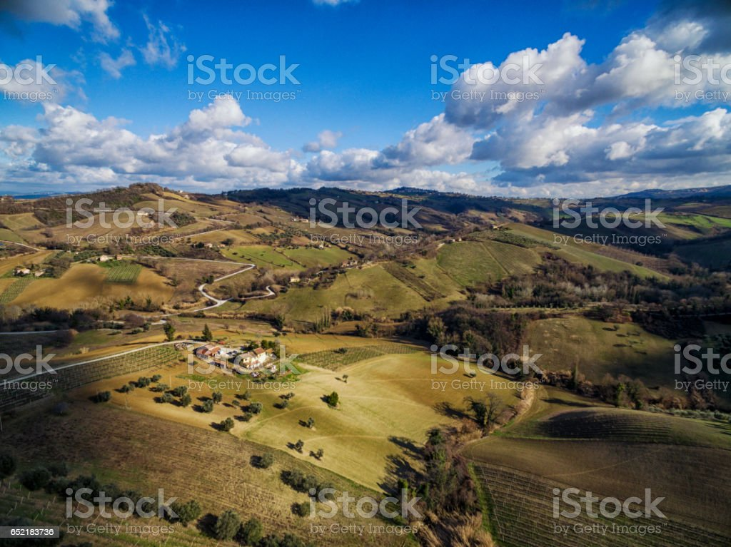 Aerial view of rural Italy - Cupramontana, Marche Italy. stock photo