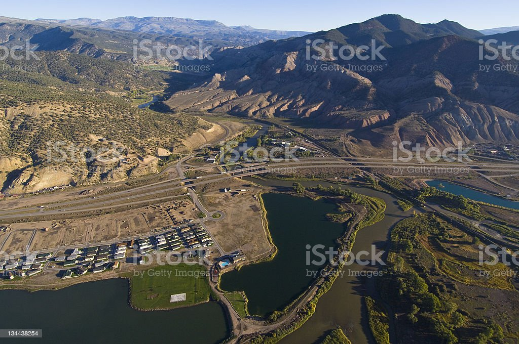 Aerial View of Rural Land with Colorado River royalty-free stock photo