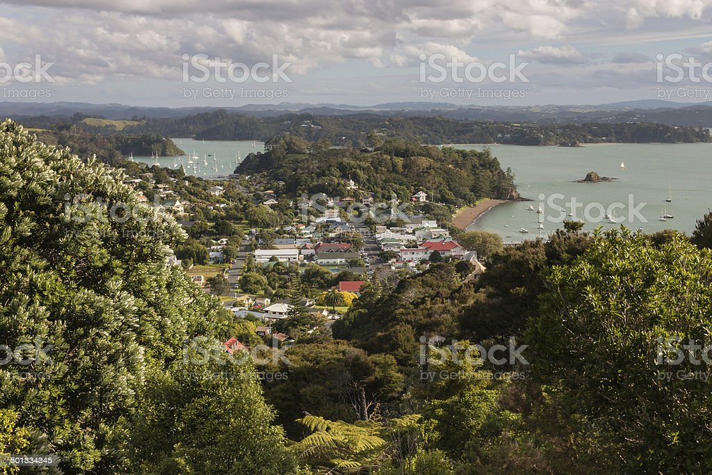 aerial view of Russell, Bay of Islands, New Zealand stock photo