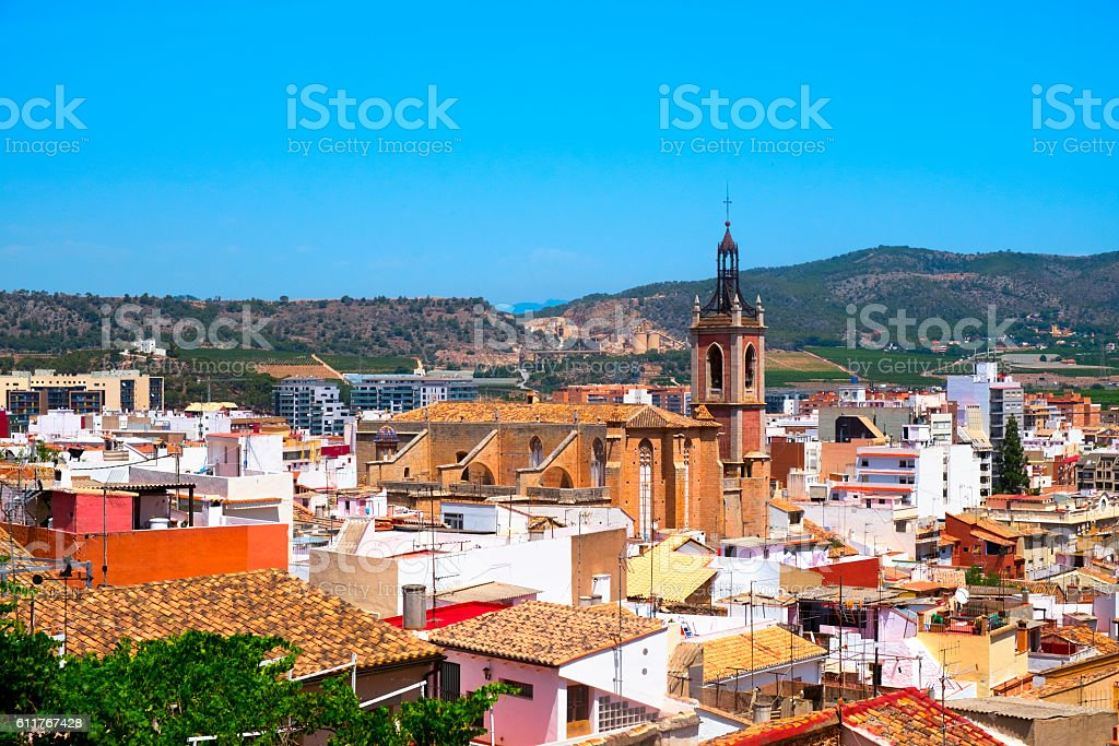 aerial view of Sagunto, Spain stock photo