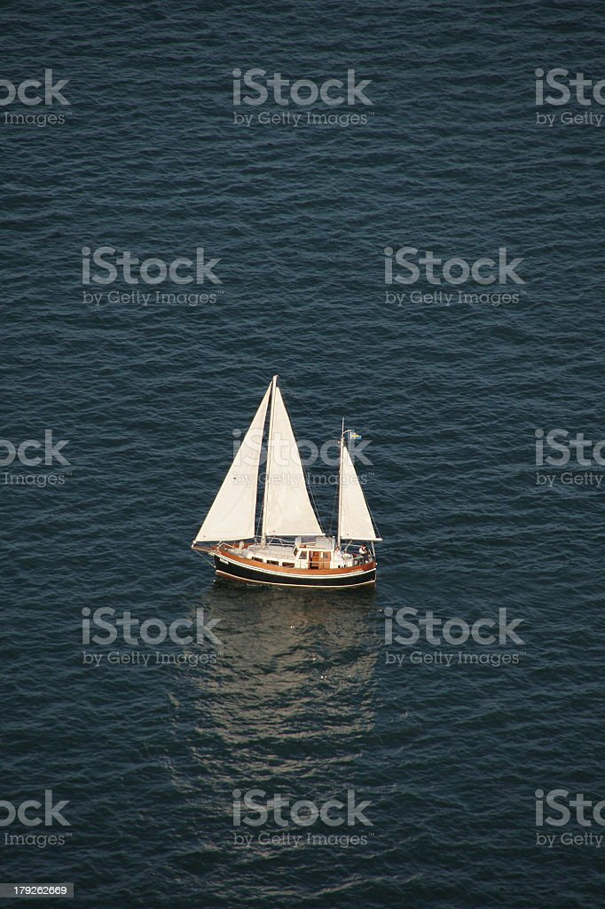 Aerial view of sailing boat royalty-free stock photo
