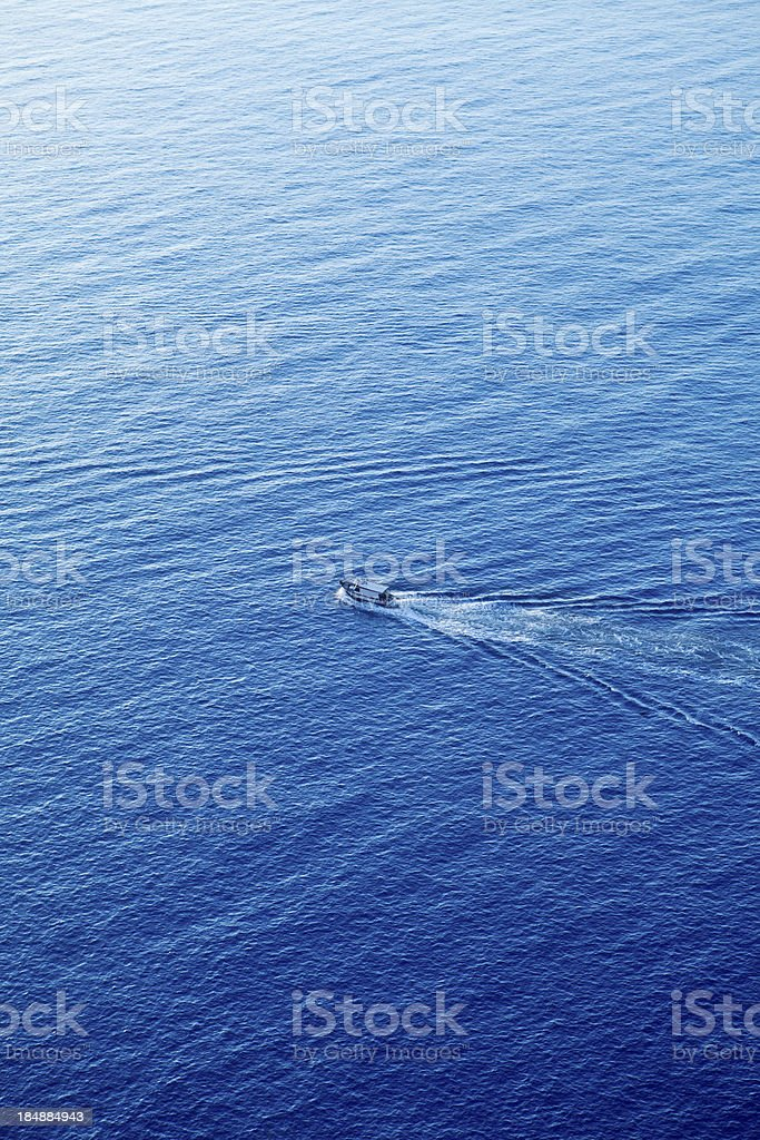 Aerial view of sailing-boat royalty-free stock photo