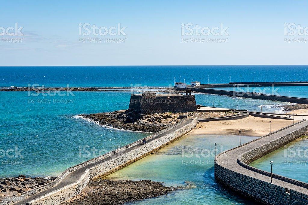 Aerial view of Saint Gabriel Castle, Arrecife, Lanzarote, Spain stock photo